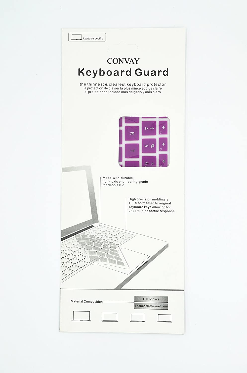 White CONVAY Ultra Thin Keyboard Cover Silicone Skin for Microsoft Surface Book