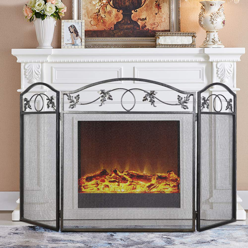 Cchainway Folding Fireplace Screens - 3 Panel Shield Wrought Iron Fireplace Screen Outdoor Privacy Screens Decorative Silver Flowers Forwplace Fence Guard Pleasant Hearth Fireplace Accessories by Cchainway