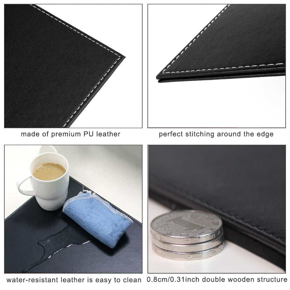 PU Leather Desk Mat Office Desk Protector Large Writing Pad Water Resistant Easy Clean 60x40cm White