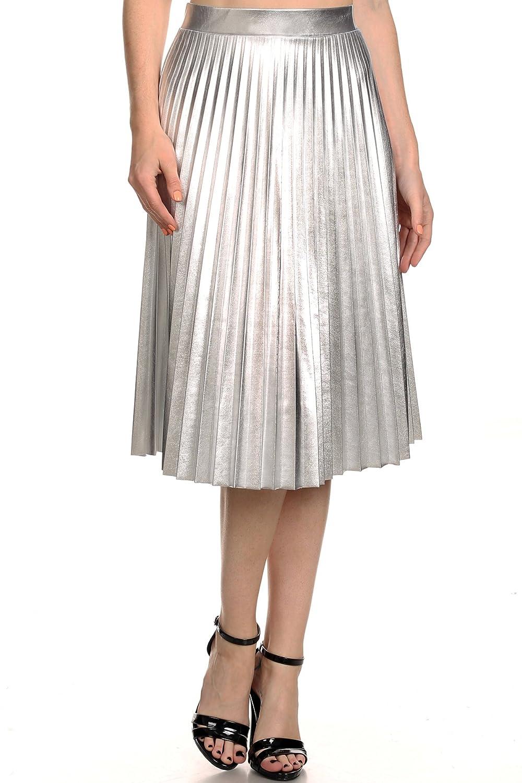 Alexandra - Faux Leather High Waist Pleated Skirt