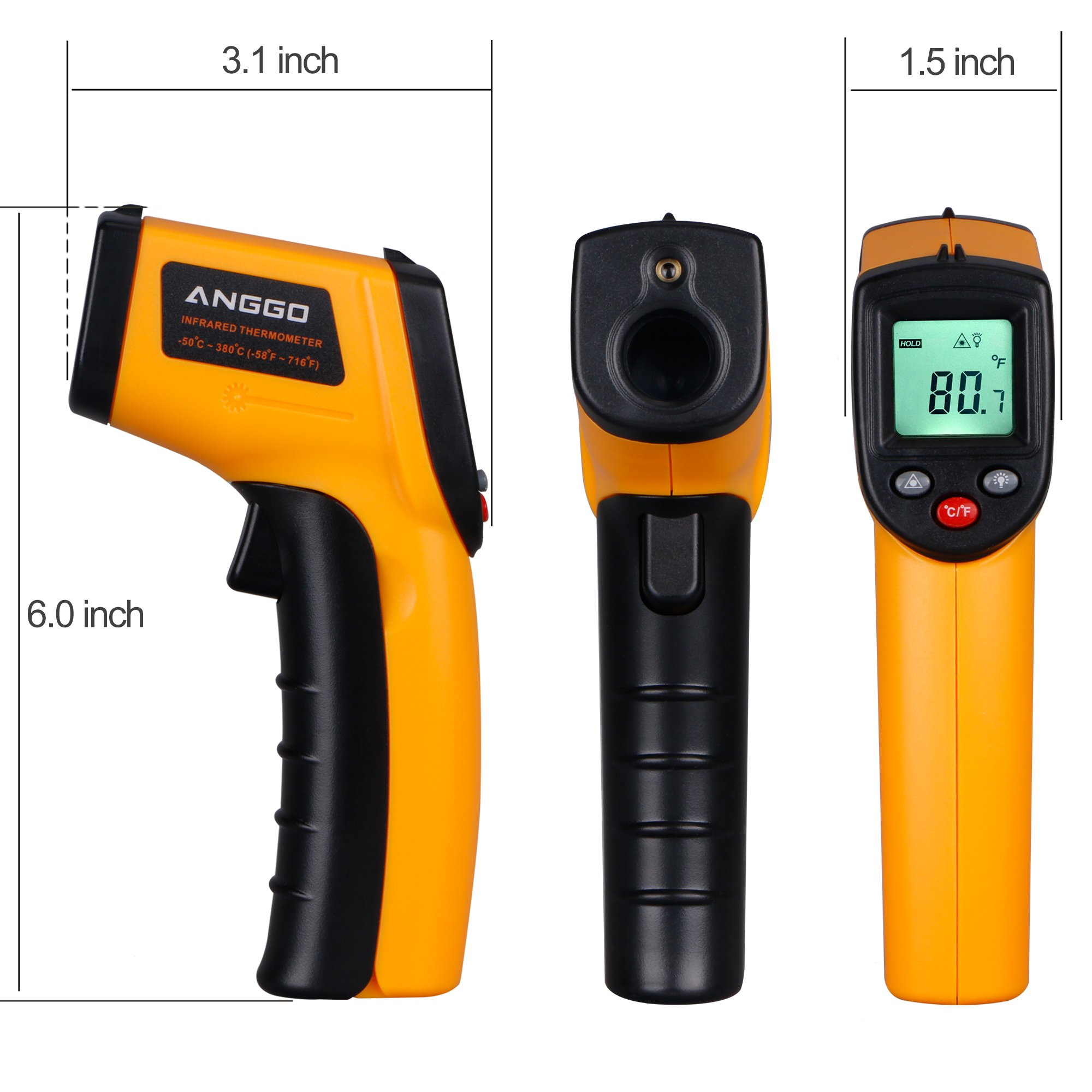 ANGGO IR Infrared Non-contact Digital Temperature Gun Thermometer with Laser for Precisely Aiming, Bright LCD Display with LED Backlight (-58 °F to 716°F) by ANGGO (Image #5)