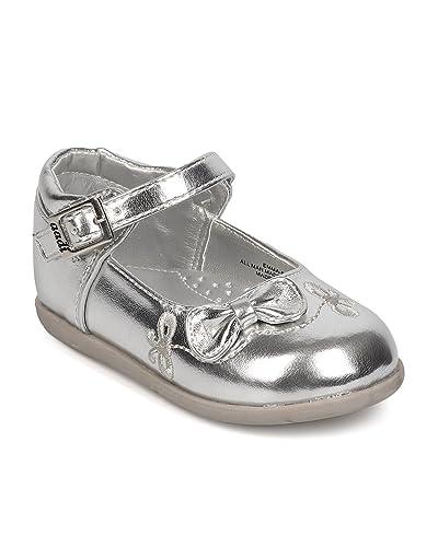 6ac0f7023bb0 aadi FK95 Metallic Leatherette Bow Tie Mary Jane Flat (Infant Girls    Toddler Girls)