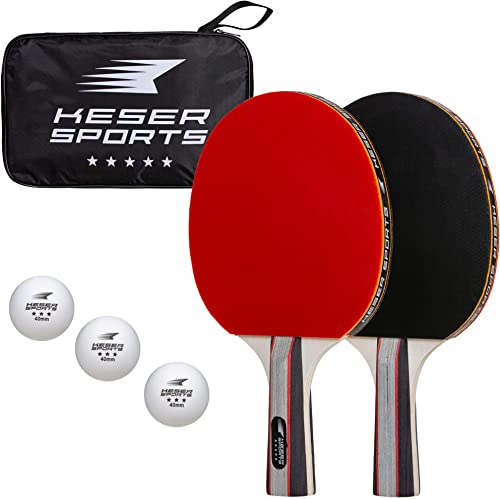 Keser Sports 5-Star Ping Pong Paddle Set 2-4 Player Racket Set Bundle with Professional ABS Balls and Portable Storage Bag Included. Advanced Spin, Speed and Control for Indoor Outdoor Table Tennis