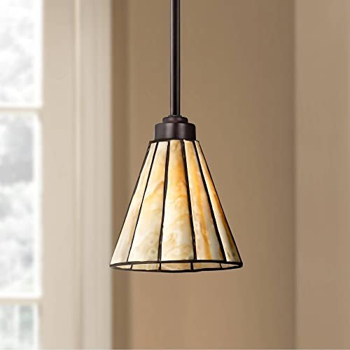 Bronze Tiffany Mini Pendant Light 7 1/2″ Wide Modern Honey Art Glass Fixture