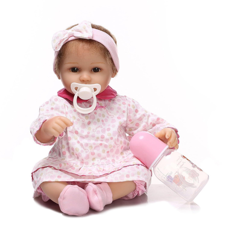 NPK Reborn Baby Doll Handmade Soft Silicone 17inch 43cm Magnetic Lovely Lifelike Cute Newborn Baby Girl Doll Boy Girl Toy   B07BDJRDGX