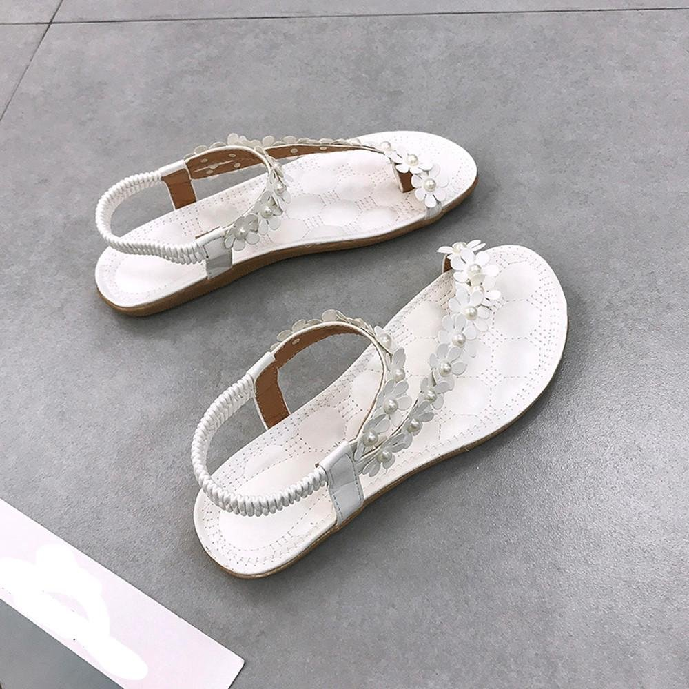 edf99e5aaa281 LuckUk Womens Sandals Ladies Sandals Slipper flip Flop Women Summer Bohemia  Flower Beads Flip-Flop Shoes Flat Sandals Beach Shoes  Amazon.co.uk  Shoes    ...