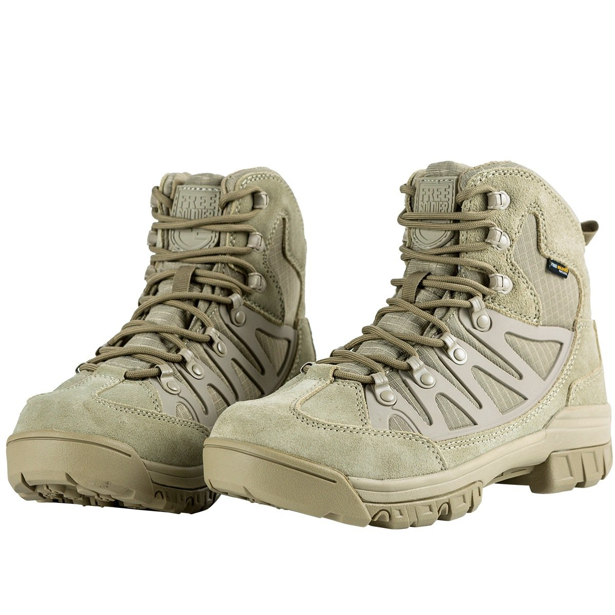 FREE SOLDIER Waterproof Mid Hiking Boots 6 Inch Outdoor Breathable Suedu Leather Tactical and Military Shoe(Soil 10.5)