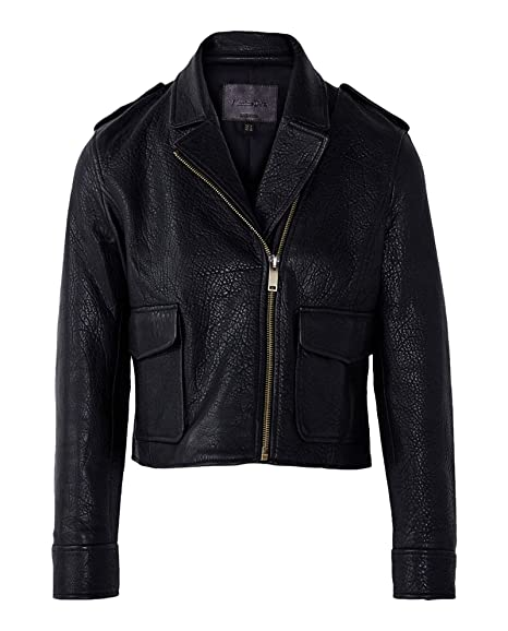 78cd22b3d MASSIMO DUTTI Women s Black Bubble-Textured Leather Biker Jacket 4702 703  (X-