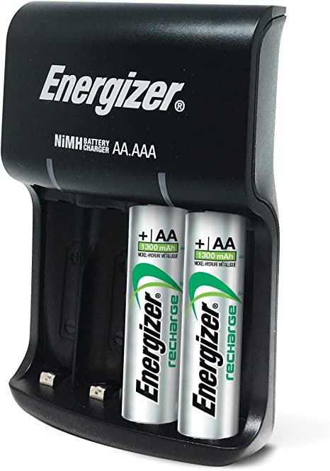 Energizer Recharge Basic Charger with 2 AA NiMH Rechargeable Batteries (Included) LED Indicator & Rechargeable AAA Batteries, NiMH, 800 mAh, ...