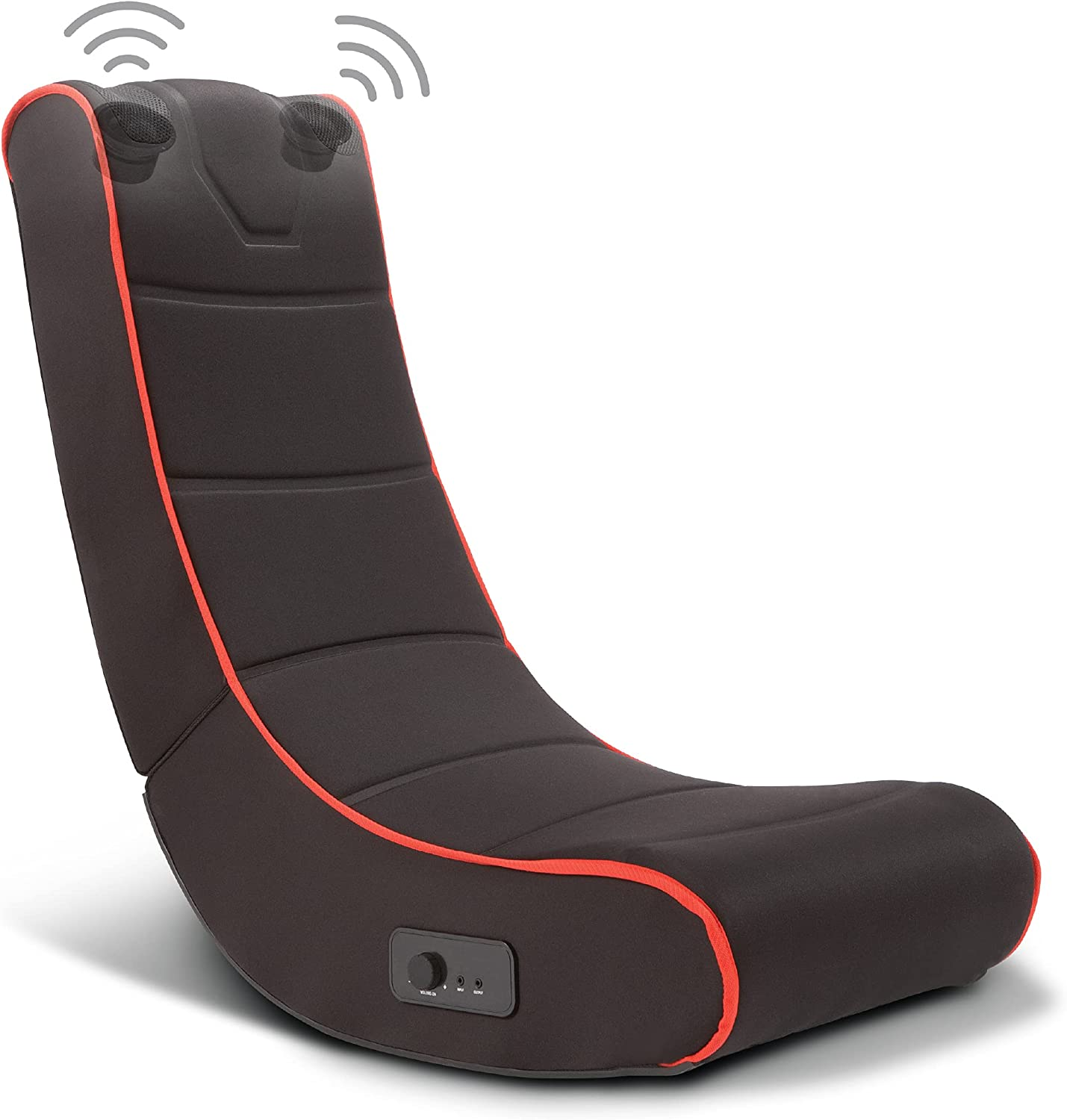 SHARPER IMAGE Foldable Gaming Chair with Onboard Speakers, Comfortable Microfiber Seat with Wireless Bluetooth Audio, Rocking Chair for Video Games, Playroom Furniture, Gift for Boys Girls Teens