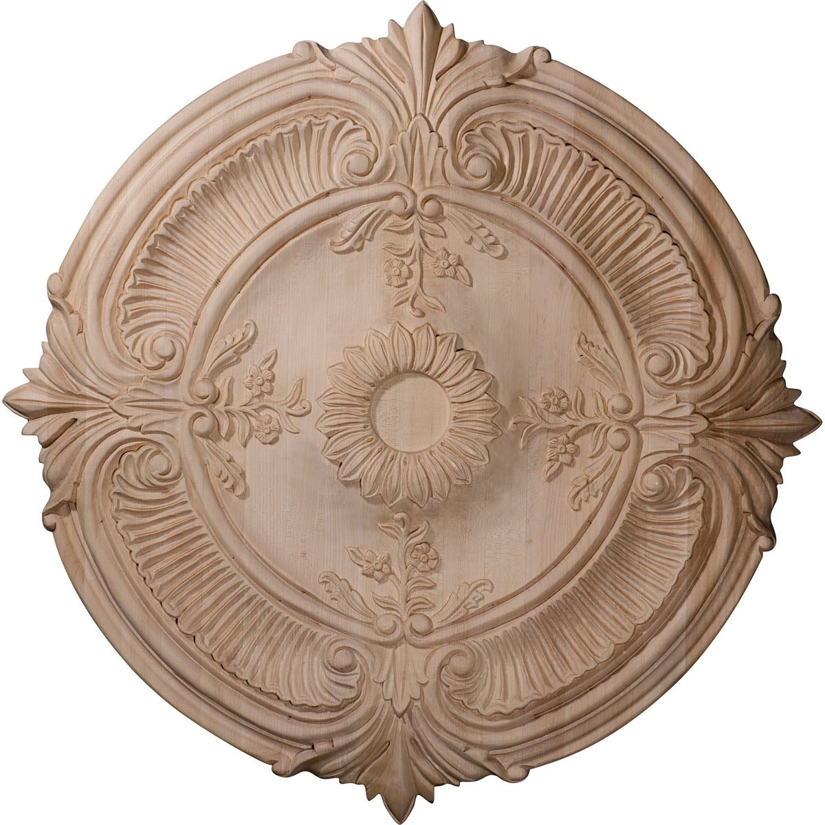 Ekena Millwork CMW16ACRO 16-Inch OD x 1 1/8-Inch P Carved Acanthus Leaf Wood Ceiling Medallion, Red Oak