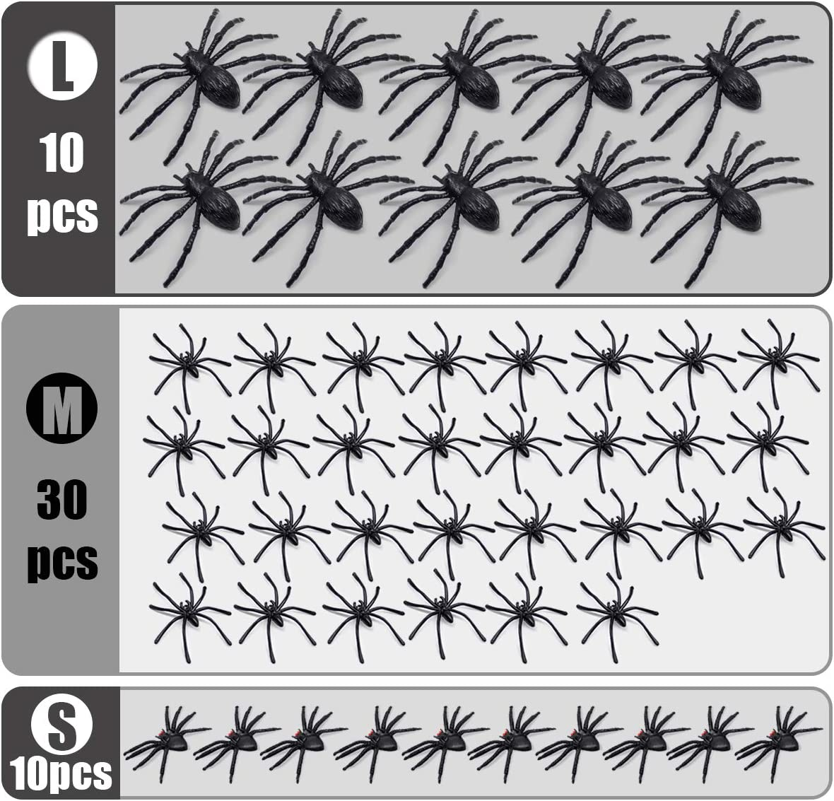 Realistic Plastic Spider Toys Halloween Decorations Fake Spider Toys for Kids 50pcs