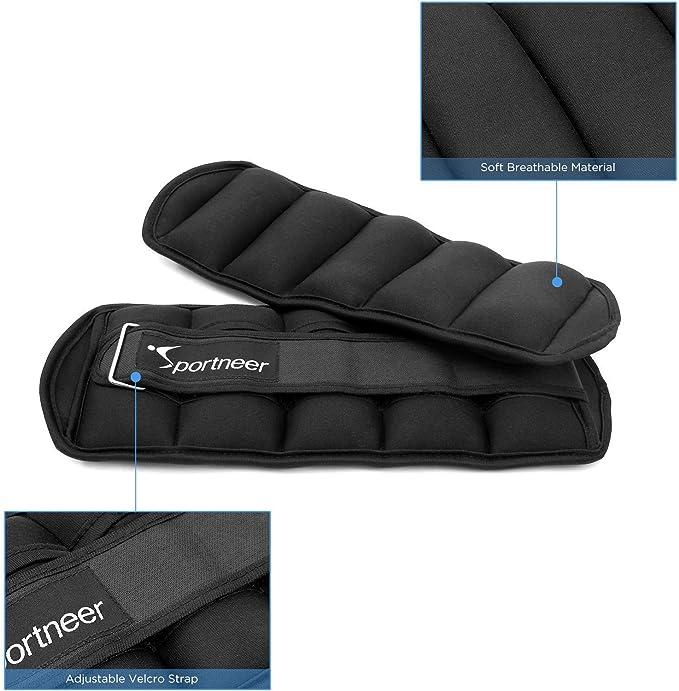 Pacco da Due Sportneer Set di Pesi Regolabile per Caviglia Colore Nero da 0,9 a 4,53 kg Strap con Peso per Polsi