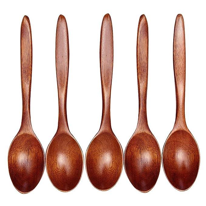 6 stk Holzlöffel Bambus Küche Kochgeschirr Werkzeug Suppe Teelöffel Utensil set