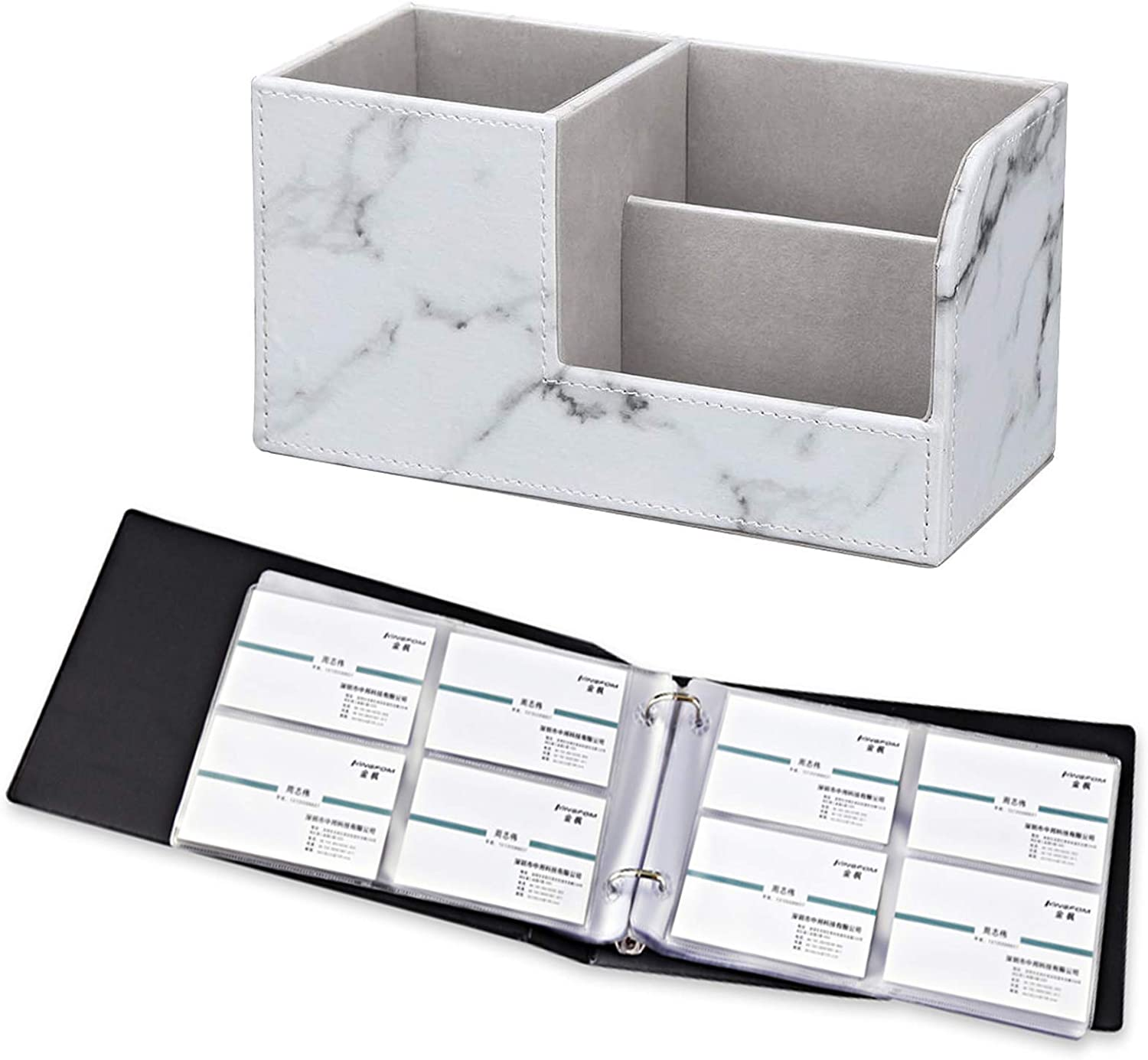 KINGFOM Pu Leather Multi-function Desk Organizer Offices Supplies Stationery Storage Box Pen/Pencil,Cell phone, Business Name Cards Remote Control Holder + Business Name Card Organizer Holds 240 Cards