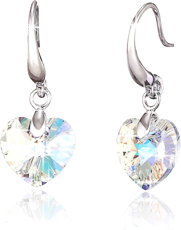 Pendientes Colgantes Corazón Cristal Mujeres