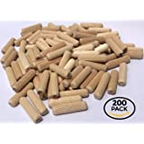 "200 Pack 3/8"" x 1 1/2"" Wooden Dowel Pins Wood Kiln Dried Fluted and Beveled, made of Hardwood in U.S.A."