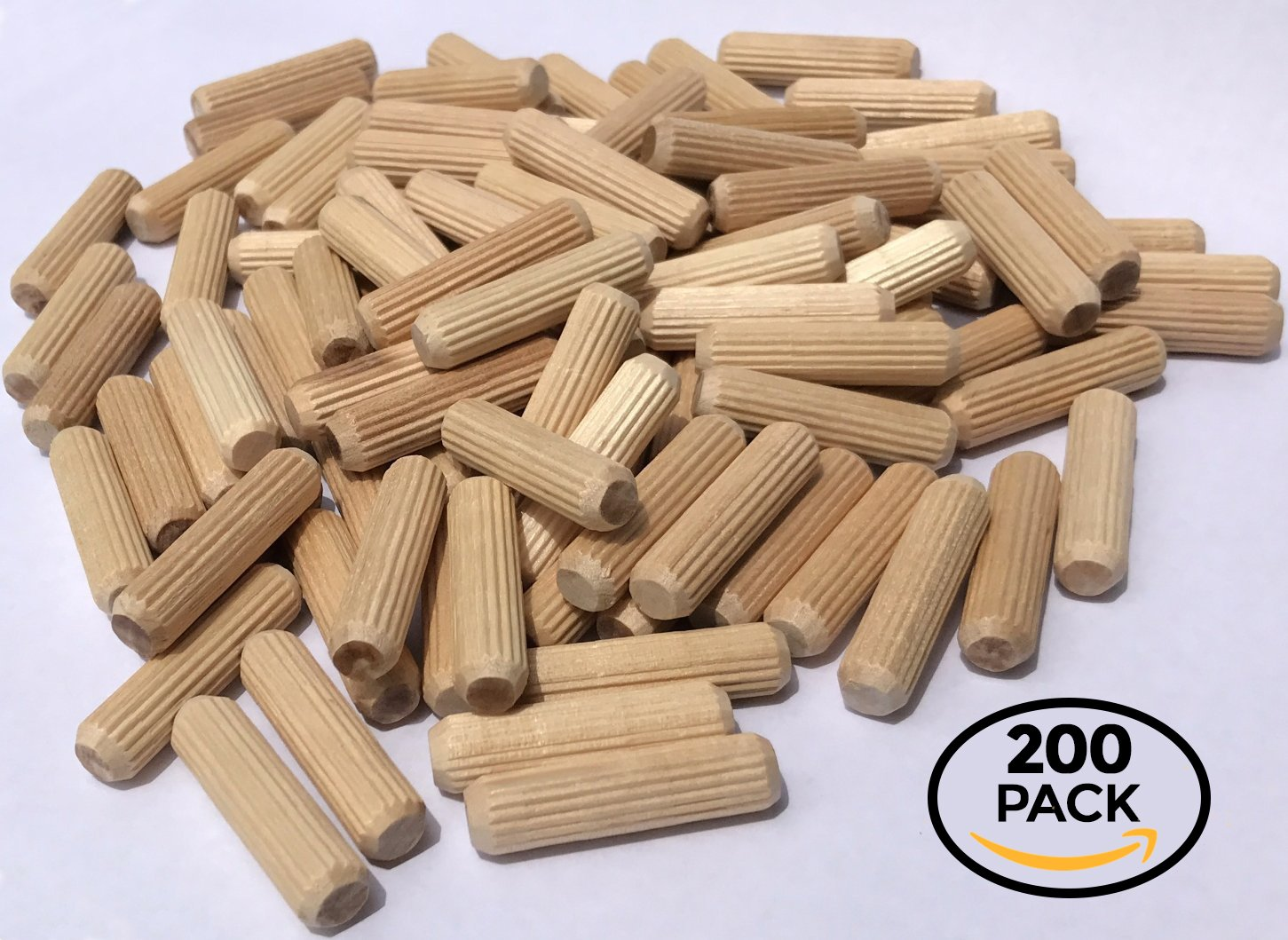 200 Pack 3/8'' x 1 1/2'' Wooden Dowel Pins Wood Kiln Dried Fluted and Beveled, Made of Hardwood in U.S.A.