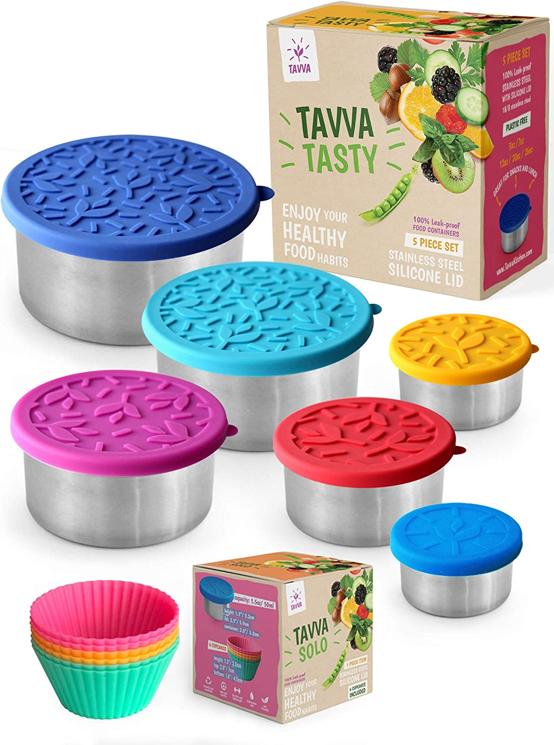 TAVVA Bundle - Set of 6 Stainless Steel Food Containers with Silicone Lids w/ 6 Reusable Silicone Baking Cups