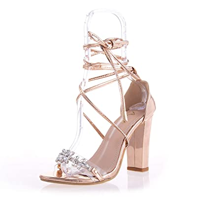 AIIT Women's Fashion Chunky High Heel Sandal Pump Shoe: Clothing