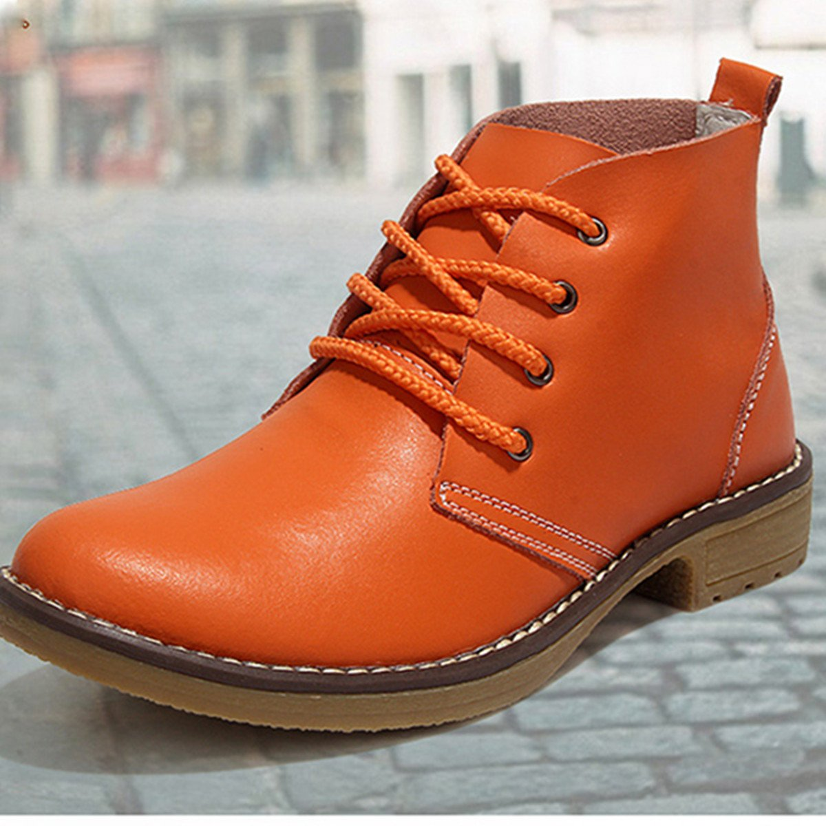 Gracosy Chukka Boot for Women, Female Faux Leather Lace Up Ankle Bootie Winter Shoes Snow Booties GRACOSYDOK89KO2918