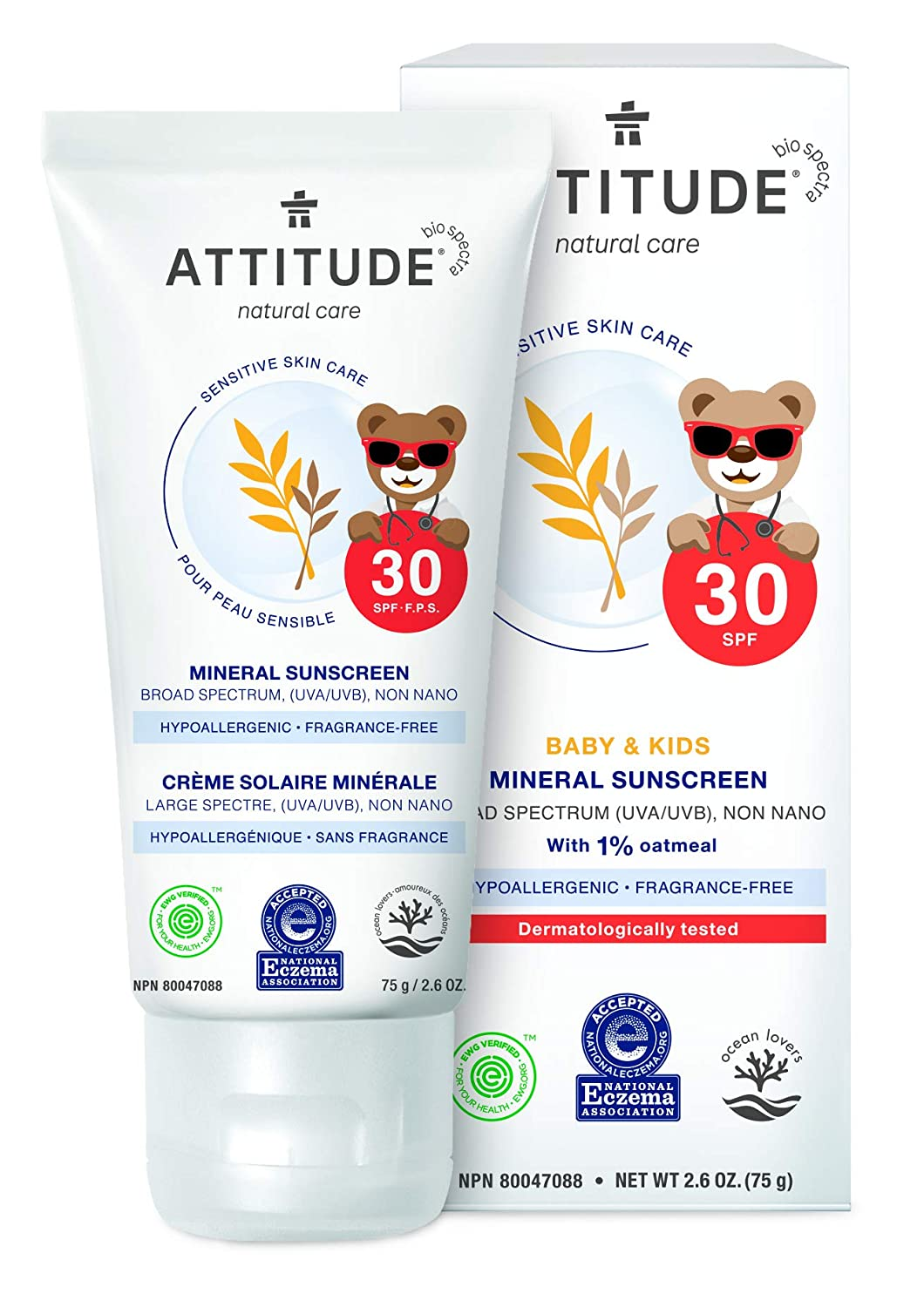 ATTITUDE Sensitive Skin, Hypoallergenic Mineral Sunscreen, SPF 30, Fragrance Free, 2.6 oz