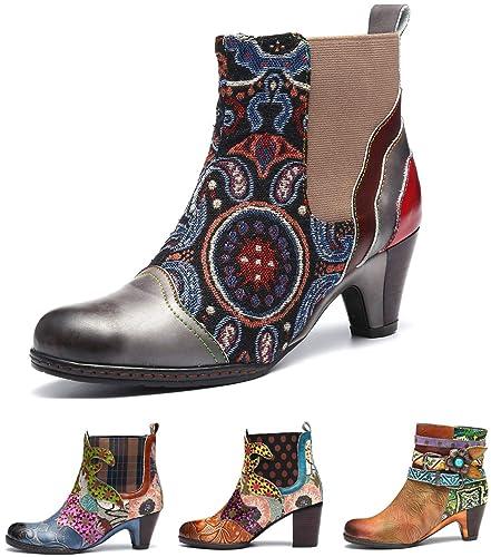 857ea3ff4d8504 Camfosy Bottines Cuir Femmes Talons, Bottes Chelsea en Cuir Boots Chelsea  Bout Pointu Chaussures de