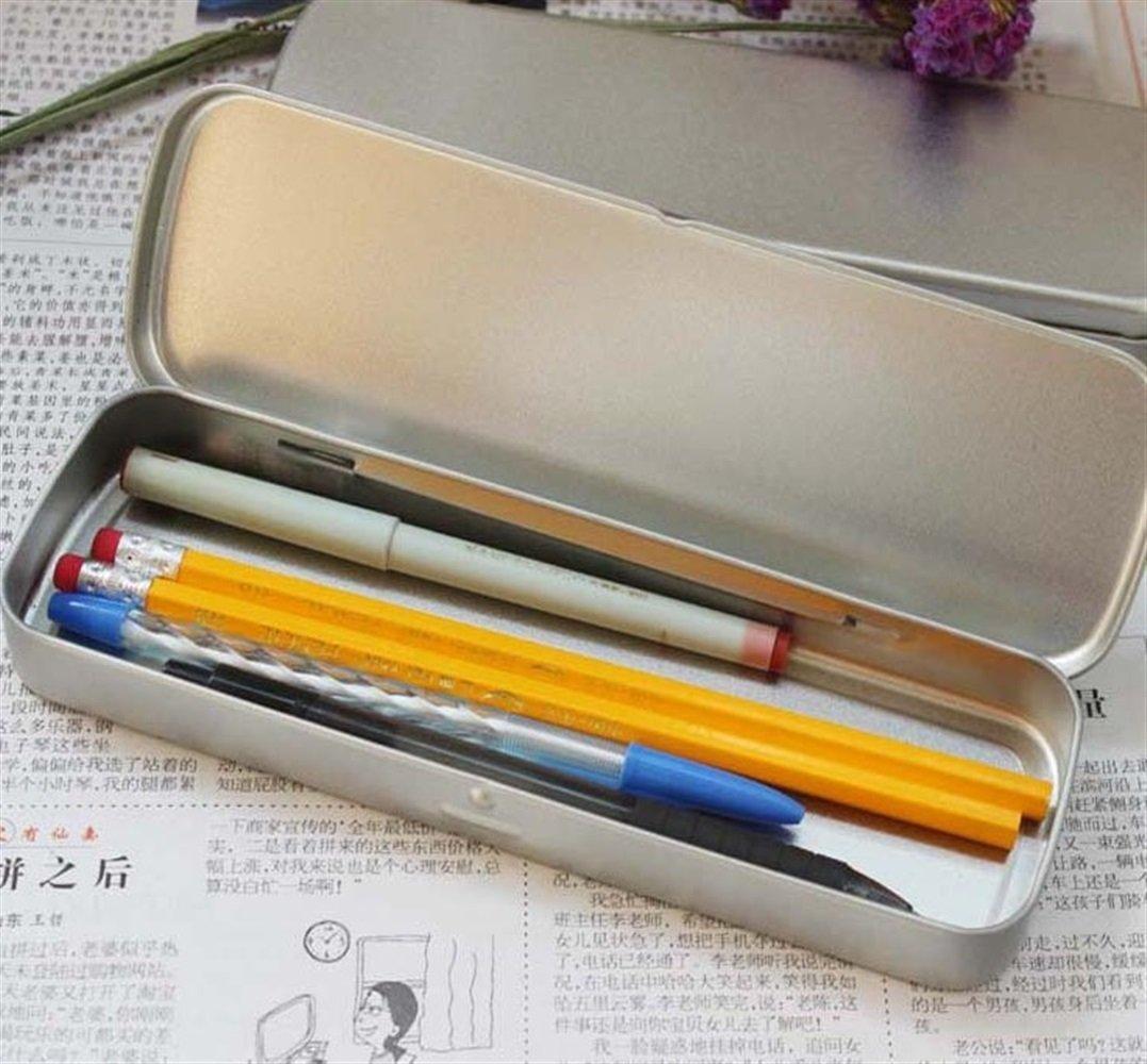 argent Kelaina Mode /Étui /à crayons simple en m/étal pour enfant /étudiant Crayon sac