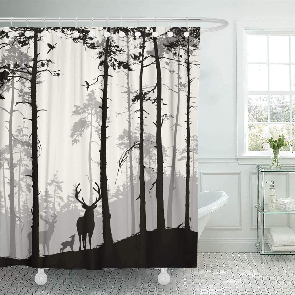 """Semtomn Decorative Shower Curtain Silhouette of Pine Forest Family Deer and Birds Brown 72""""x72"""" Waterproof Bathroom Shower Curtain Set with Hooks"""