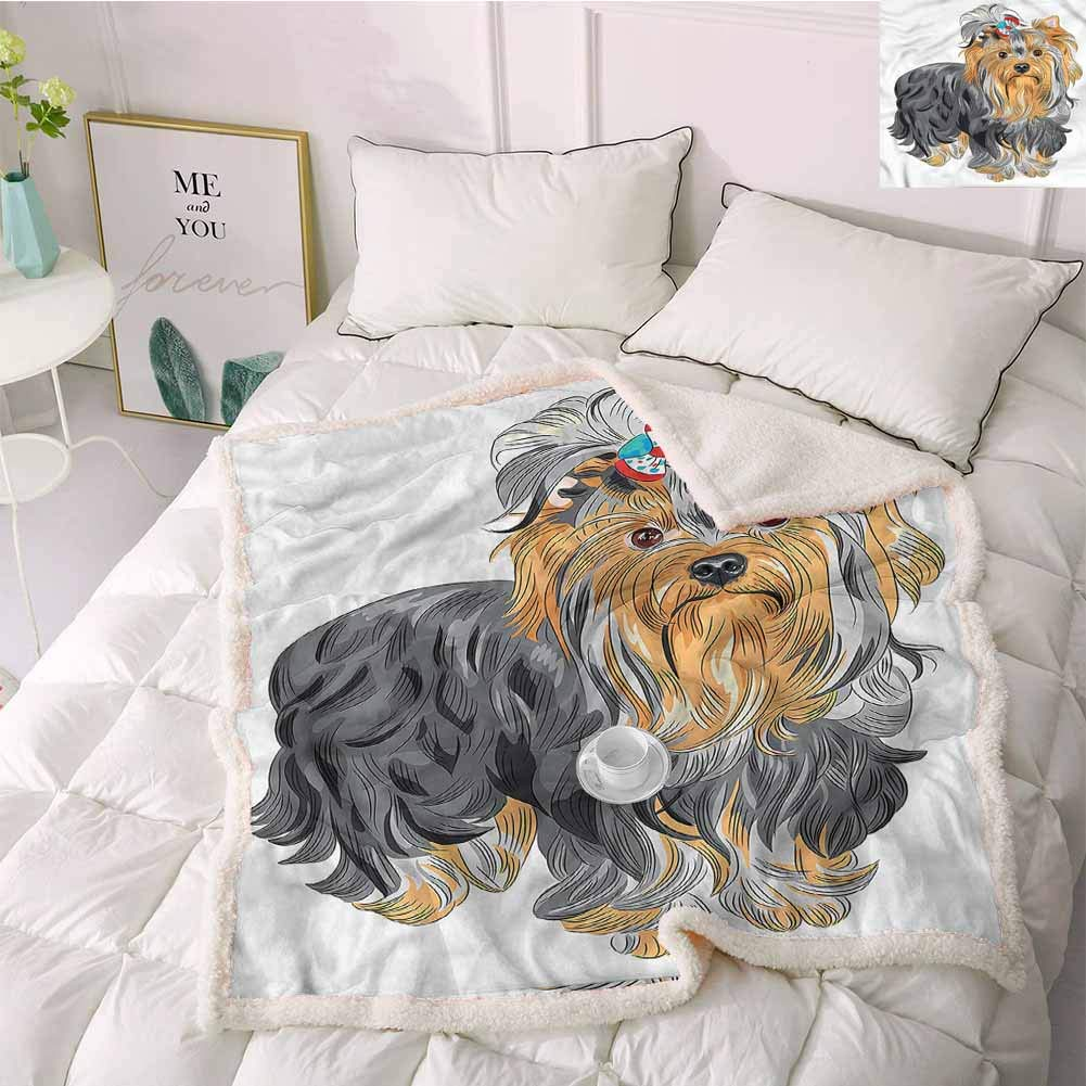 Miles Ralph Throw Blanket Blanket Throw Yorkie,Terrier with Cute Bow Faux Fur 50''x60'' by Miles Ralph