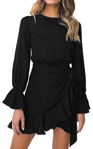 5933aa8f210 ECOWISH Womens Dresses Ruffle Hem Long Sleeves Casual Solid Color Mini Dress  1848 Black S