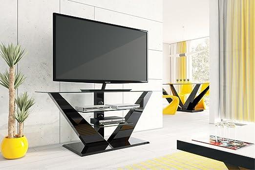 Design Fernsehtisch Hl 111 Schwarz Hochglanz Glas Mit Led Beleuchtung Tv Mobel Rack Lcd Amazon De Kuche Haushalt