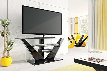 Design tv möbel glas  Design Fernsehtisch HL-111 Schwarz Hochglanz Glas LED TV Möbel Rack ...