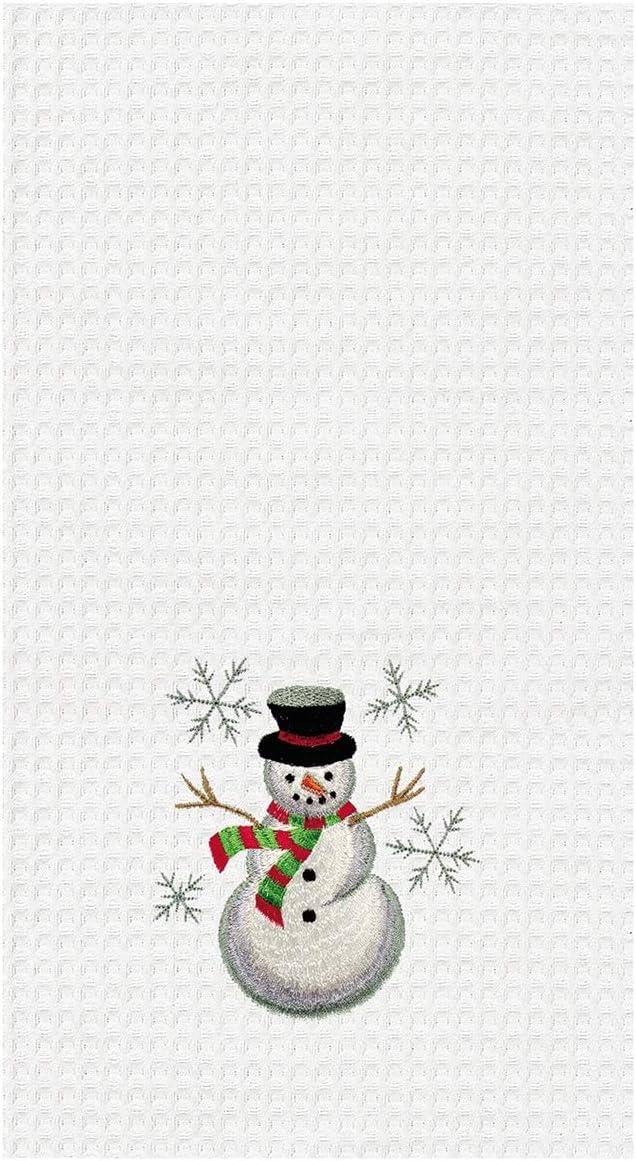 Snowman Hanging Kitchen Towels Set Crochet Top Winter Mittens