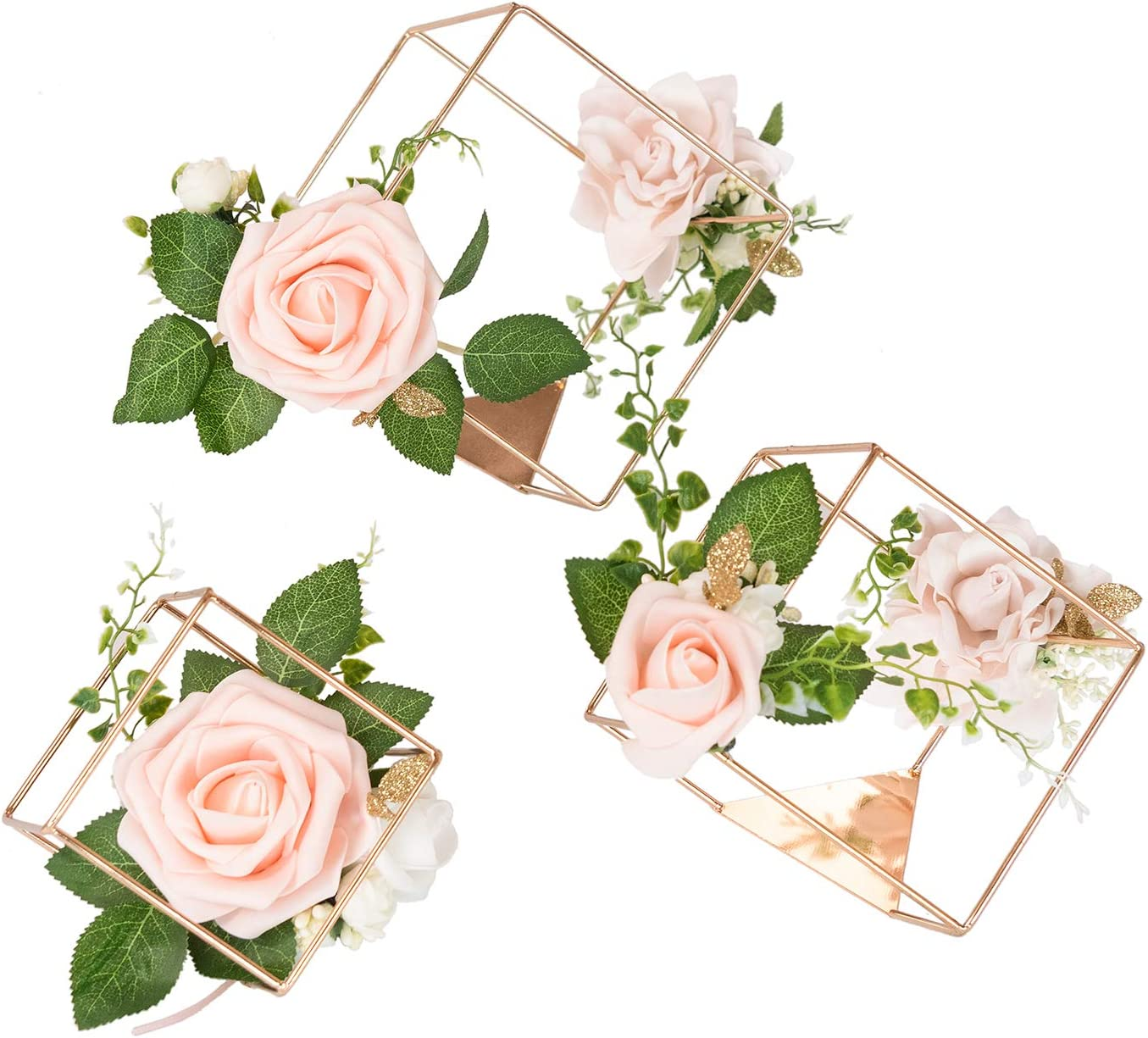 Amazon.com: Ling's moment Set of 3 Gold Geometric Rustic Wedding  Centerpieces Ornaments Blush Rose Flower Table Simple Centerpieces for  Wedding Party Decor: Kitchen & Dining