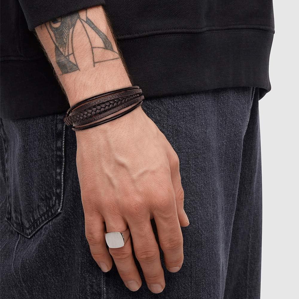 Casisto.J Personalisiertes Armband Lederarmband Herren Personalisierter Armband Herren M/änner Leder Silber Edelstahl Geschenkbox Mit Namen Gravur f/ür M/änner Frauen