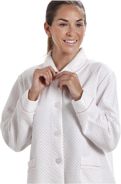 CAMILLE Damen Bettjacke mit Punktemuster Wei/ß mit rosa Punkten