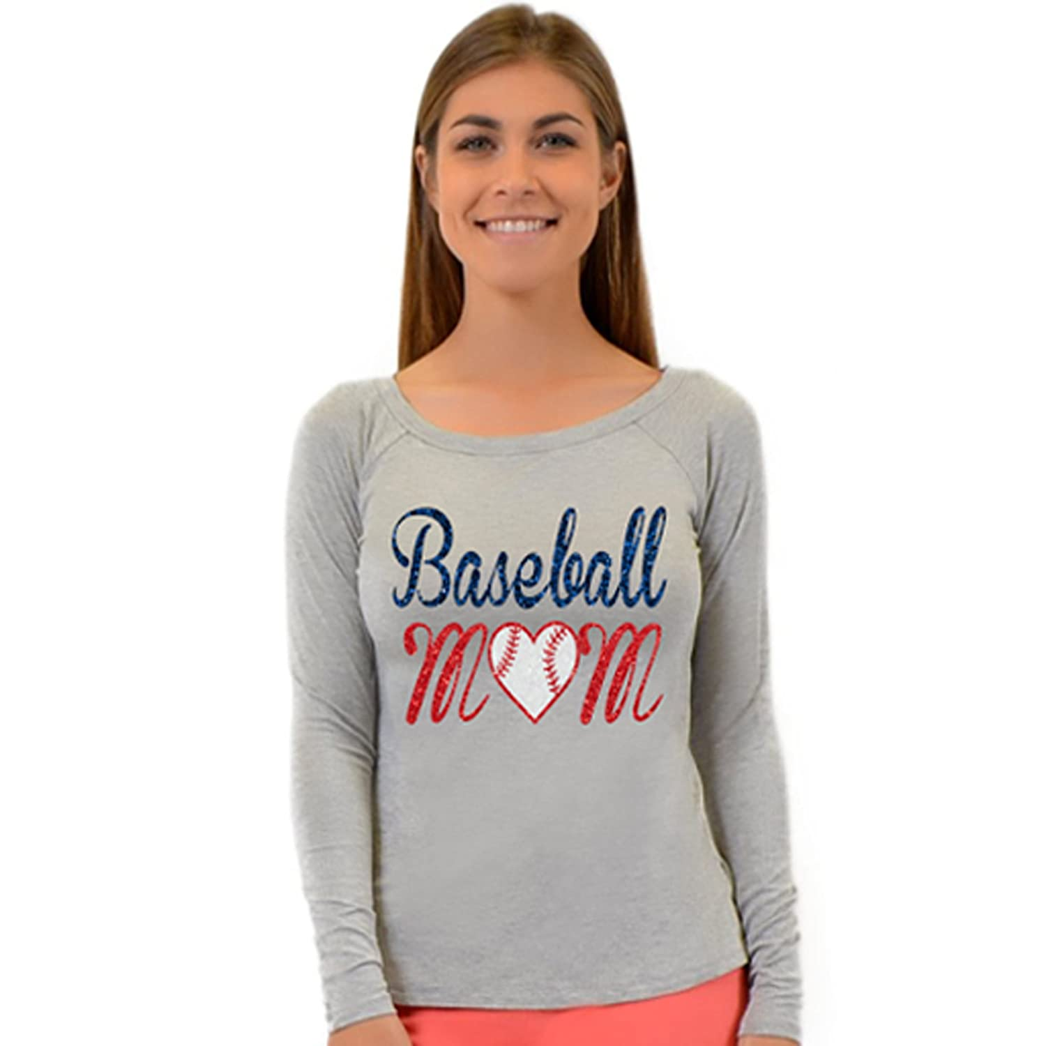 69cdfbdb97d7c Stretch Is Comfort Long Sleeve Baseball Mom Top at Amazon Women s Clothing  store
