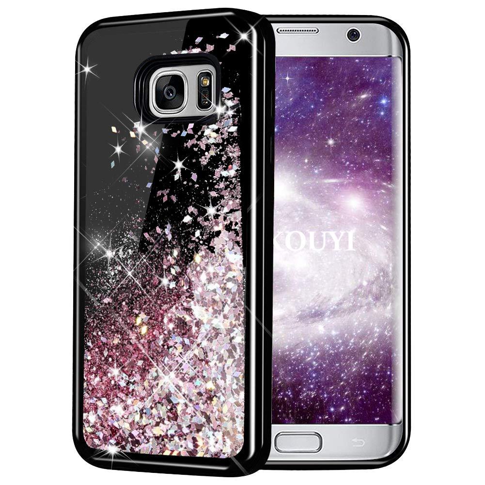 KOUYI Coque Samsung Galaxy S7, Luxe Flottant Liquide Noir É tui Protecteur TPU Cover Brillant Bling 3D Cré atif Conception Sparkly Coque Housse Telephone é tui pour Samsung Galaxy S7 (Bleu Argent) KOUYI-HSYT-IX-0907045