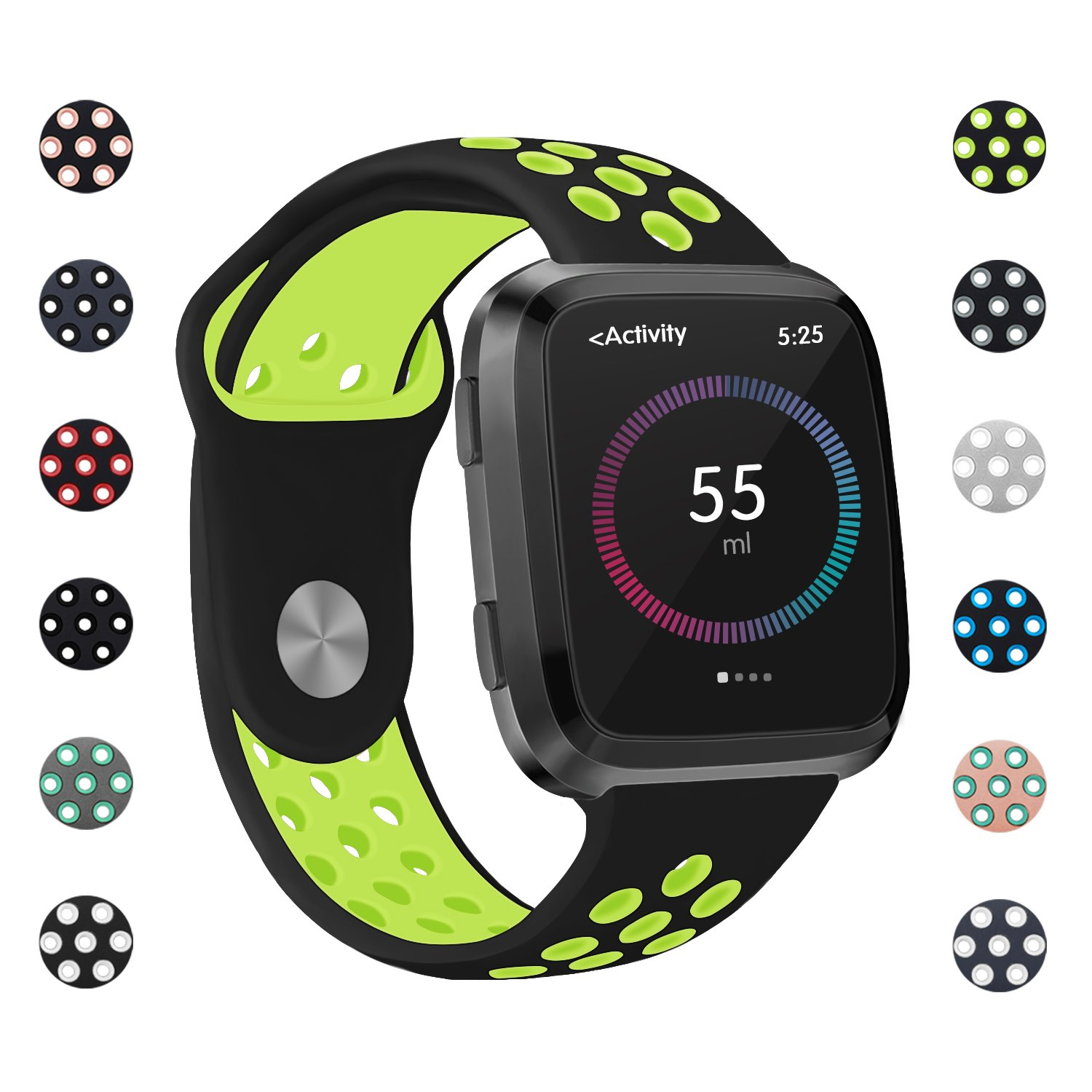 Poy for Fitbit Versaバンド、調節可能な通気性交換用スポーツバンドwith Air穴for Fitbit Versa Smart Watch B07D8RRPHY 12-Black Green L 1PC L (for6.7-8.1\