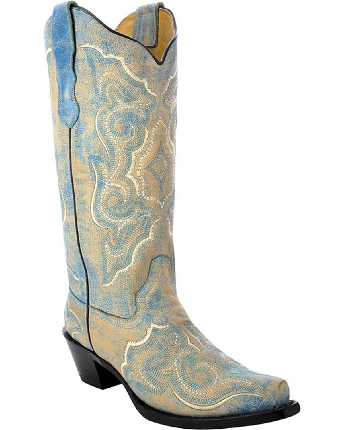 Corral Women's Distressed Leather Embroidered Cowgirl Boot Snip Toe Turquoise 11 M