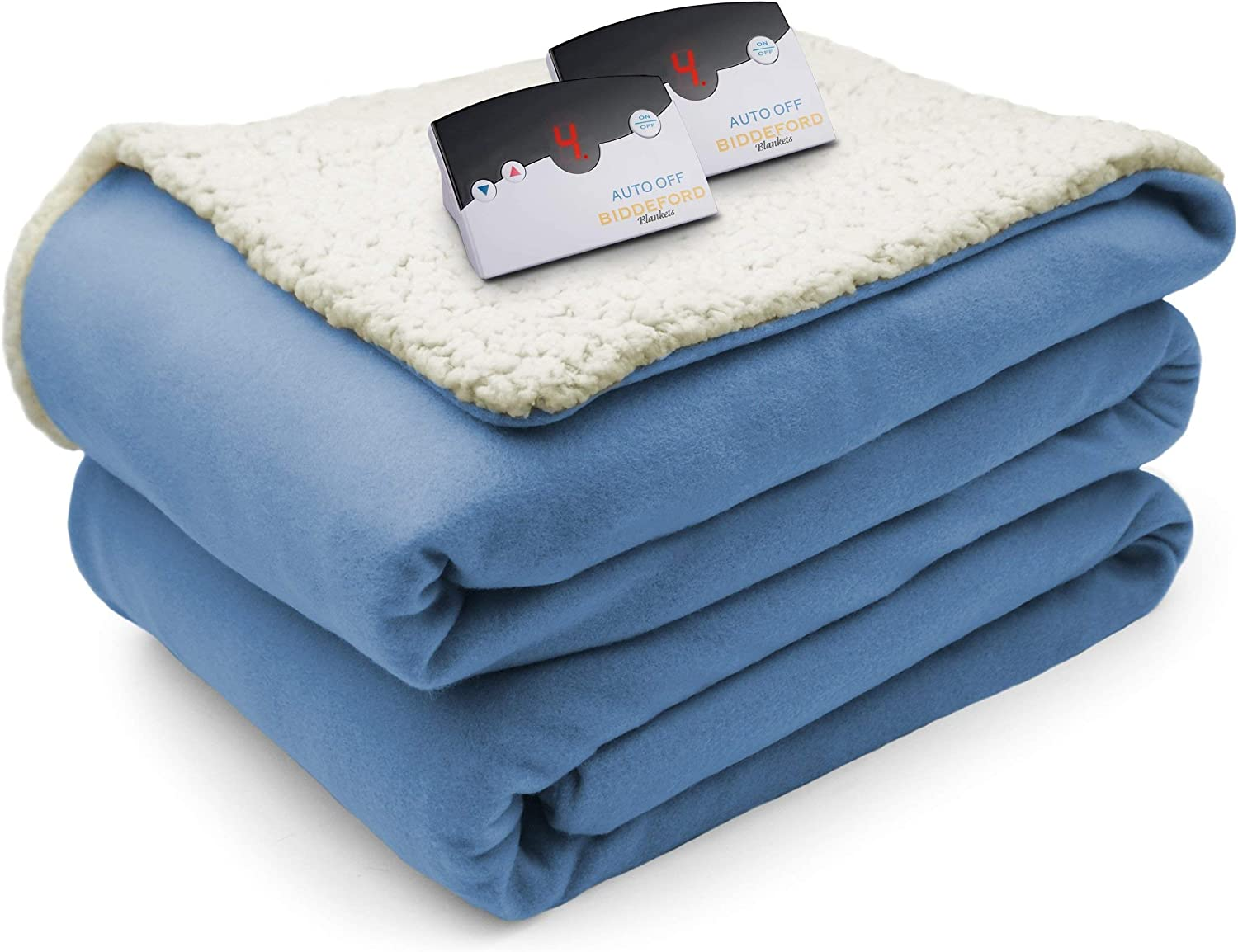 Biddeford Comfort Knit Fleece Sherpa Electric Heated Blanket with Digtal Controller, Queen, Blue