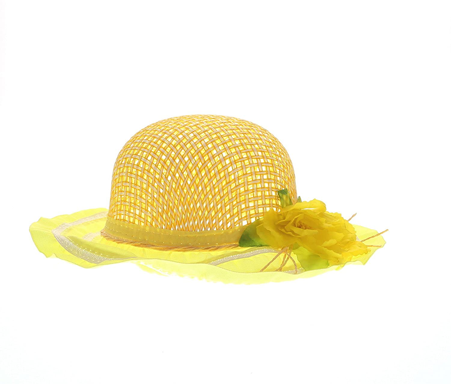 Amazon.com  Mozlly Yellow Tea Party Sun Flower Hat 7.75 Inches Woven Straw  Sun Shade Headpiece - Girl s Fashion Accessory  Clothing 97fa996185a