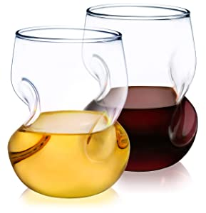 Dragon Glassware Wine Glasses, 16-Ounce Stemless Tumblers for Red and White Wine, Gift Boxed - Set of 2