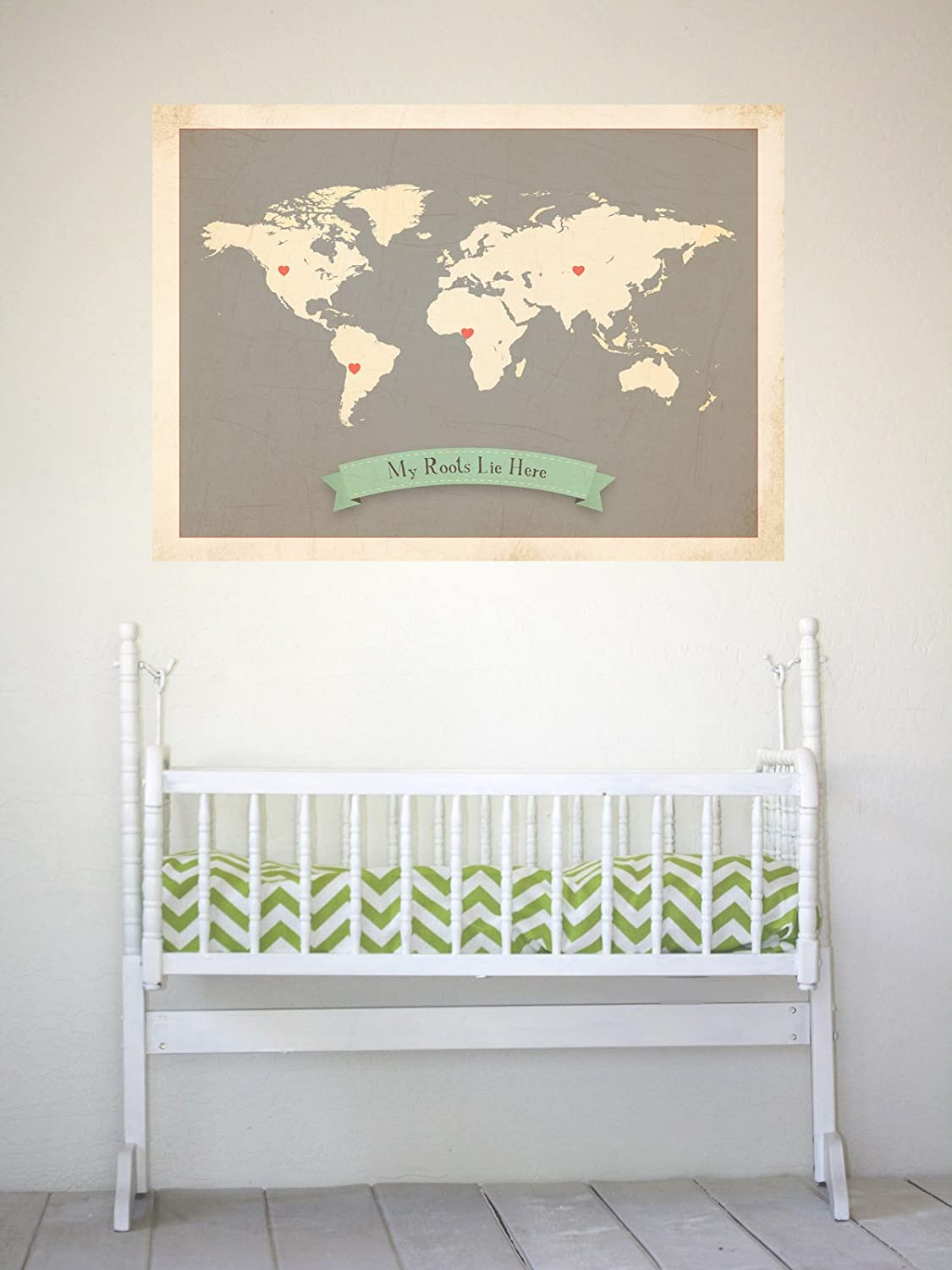 Amazon my roots personalized world map 24x18 print kids wall amazon my roots personalized world map 24x18 print kids wall art world map kids wall art print kids travel world map customized roots map gumiabroncs Images