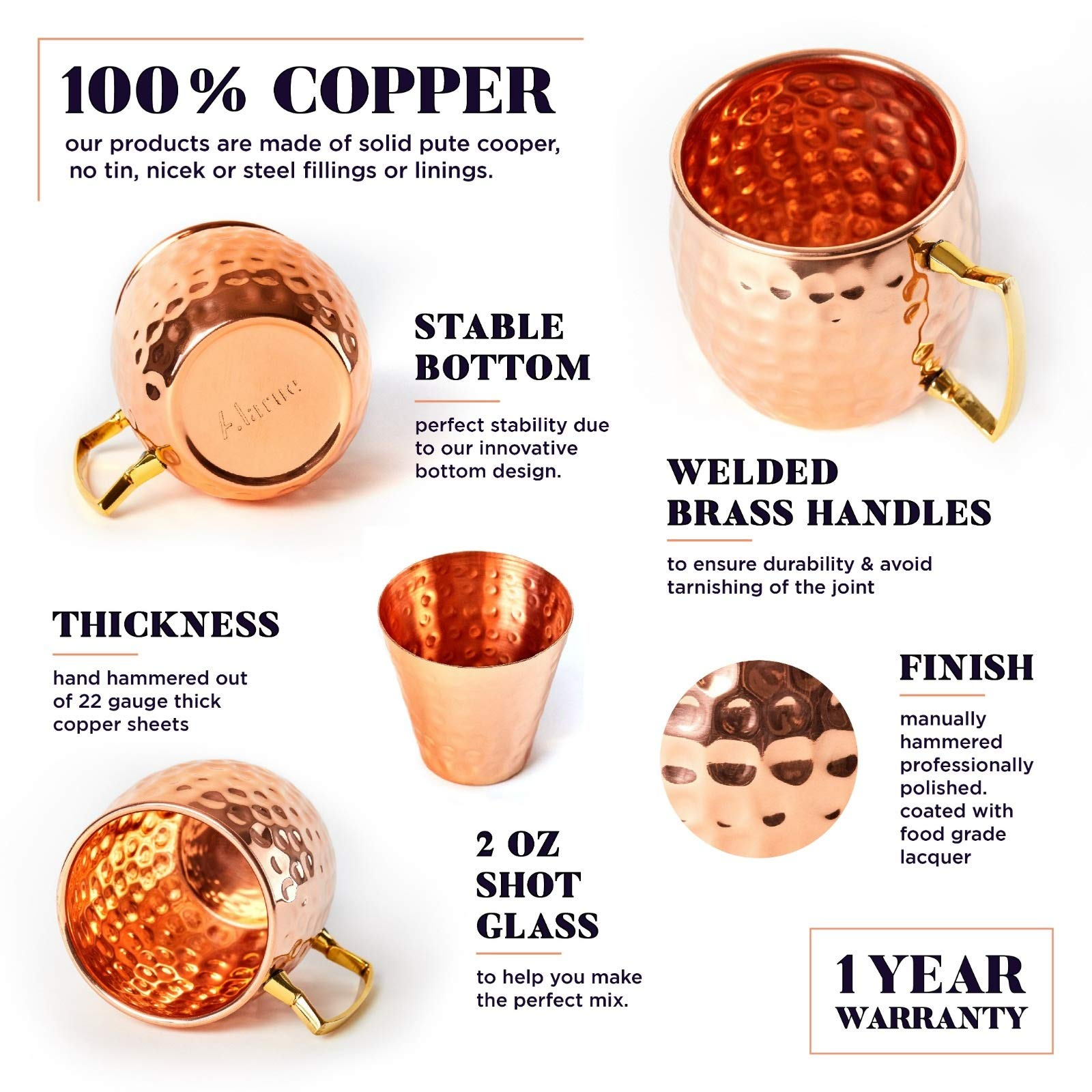 Moscow Mule Copper Mugs Set - 4 Authentic Handcrafted Mugs (16 oz ) with  Shot Glass (2 oz ) - Food Safe Pure Solid Copper Mugs - Gift set with  Recipe