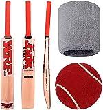 Top Selling NHD WRF Tennis Cricket Bat with Ball & 100% Cotton NHD Unisex Grey Wristband