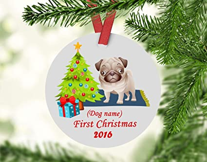 Dogs First Christmas Ornament.Amazon Com Fhdang Decor Dogs First Christmas Ornament Pug