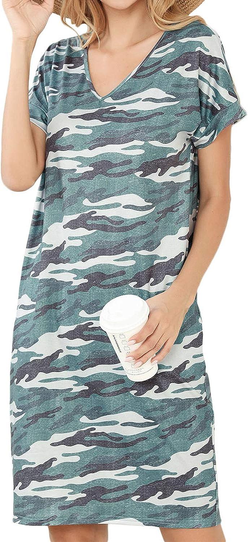 Womens Short Sleeve Dress Print Summer Casual V Neck Mini Dress