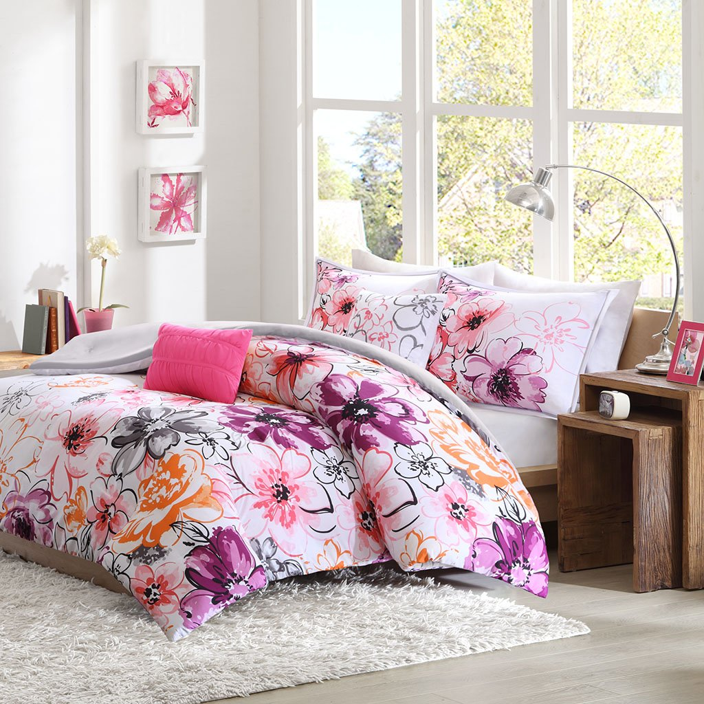 CDM product Intelligent Design Olivia Comforter Twin XL Size-Purple Pink, Floral – 4 Piece Sets – Ultra Soft Microfiber Teen Bedding for Girls Bedroom, Twin/Twin X-Large, small thumbnail image